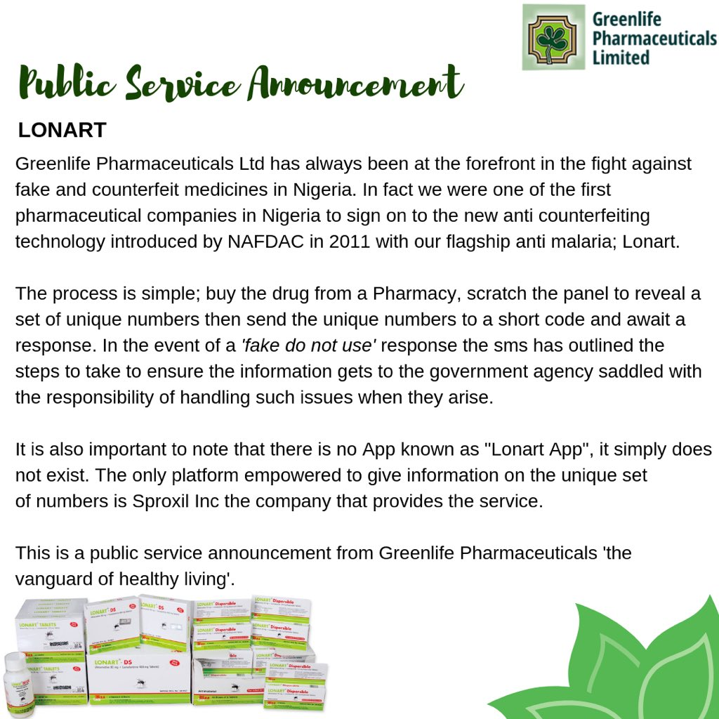 Greenlife Pharmaceuticals Limited (@greenlifenig1) | Twitter