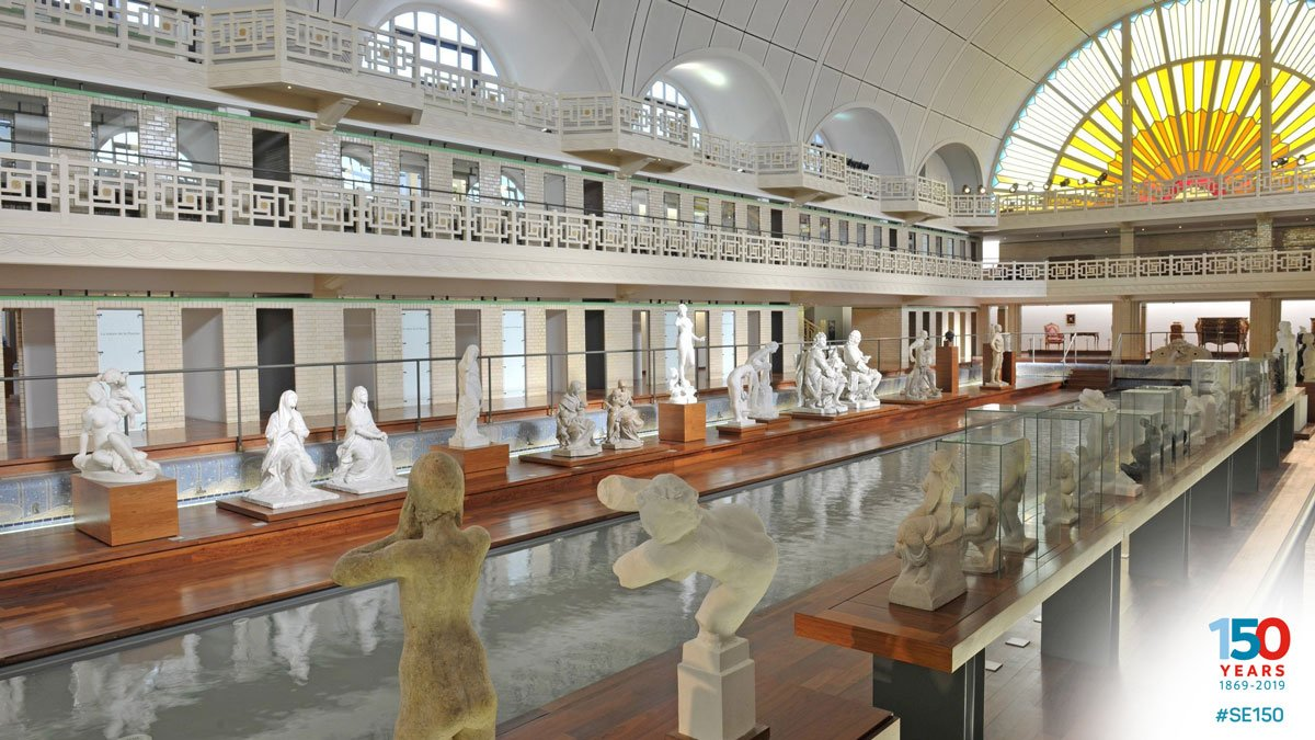 #DailySwimmingFact: @MuseeLaPiscine in Roubaix near Lille, France, opened in 1932 and has been described as 'the most beautiful #swimming pool in France'. In Roman Britain, pools were often created as social meeting places and bathing rather than swimming. #SE150 #TuesdayThoughts