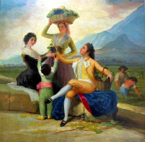 Day1️⃣8️⃣ Зураг1️⃣ Francisco de Goya, The Wine Harvest, 1786, 267x 190 cm  Тэрээр Чарльз IV, түүний гэр бүл, язгууртнуудын зургийг их зурсан. Гайхалтай өнгөлөг энэ зурагт эгэл жирийн тариачин тэднийг сонжин харах ба ангийн ялгааг гаргаж харуулжэ Мөн моралын зургууд нь ихэд алдаршжээ
