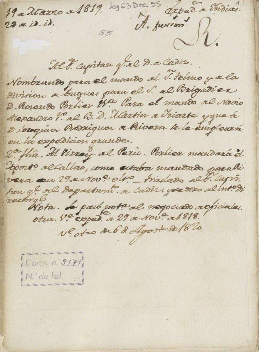 La flota estaba al mando del brigadier Rosendo Porlier, caballero de la Real y Militar Orden de Santiago, que combatió en la batalla de Trafalgar. 👉bit.ly/2QgAeHr 👉bit.ly/2LRPzQ7 #museos #ArchivosdeDefensa @Armada_esp @Museo_Naval @ArchivosEst @AmigosAHN