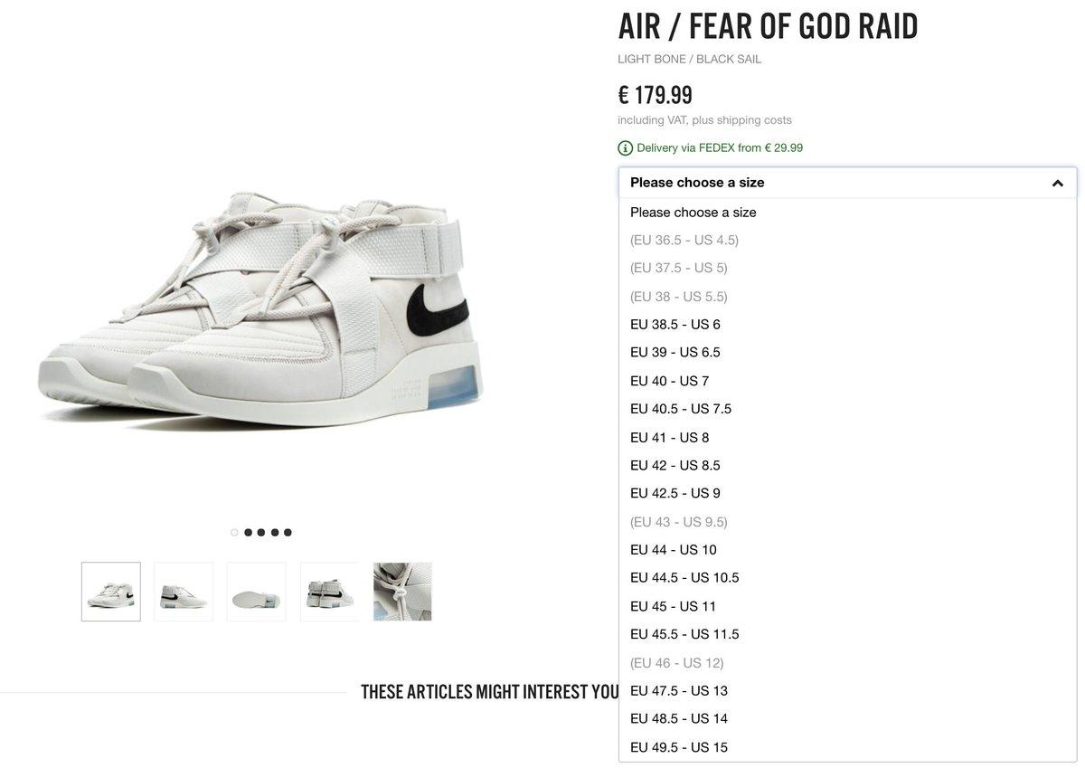 RESTOCK Fear of God x Nike Air Raid