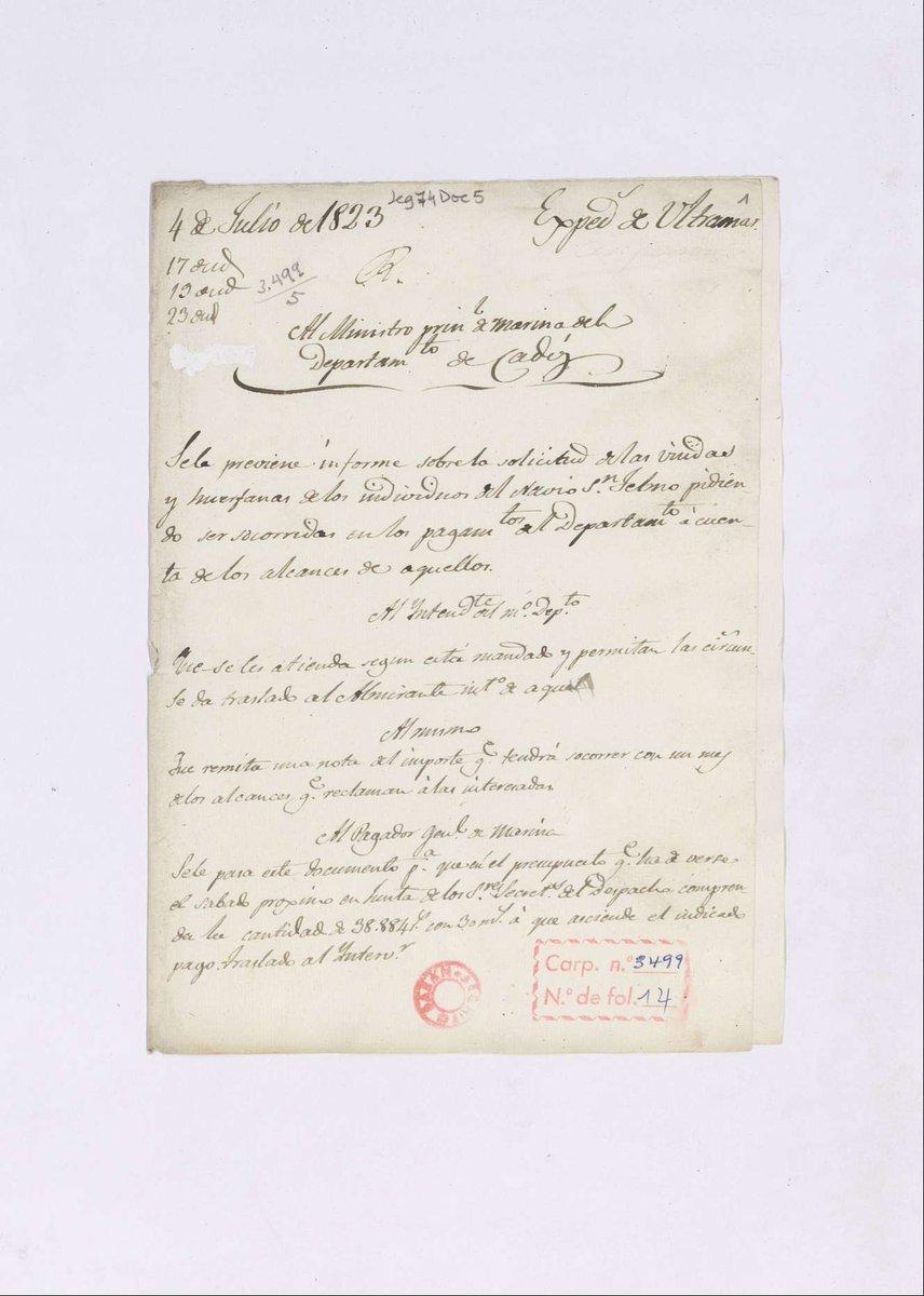 A instancia de las viudas de los oficiales, en 1822 se declara desaparecido el navío. Sus cartas al rey para poder cobrar pensión se conservan en el Archivo General de la Marina. 👉bit.ly/2WYzj14 👉bit.ly/30IjgXw #ArchivosdeDefensa @Armada_esp @Museo_Naval