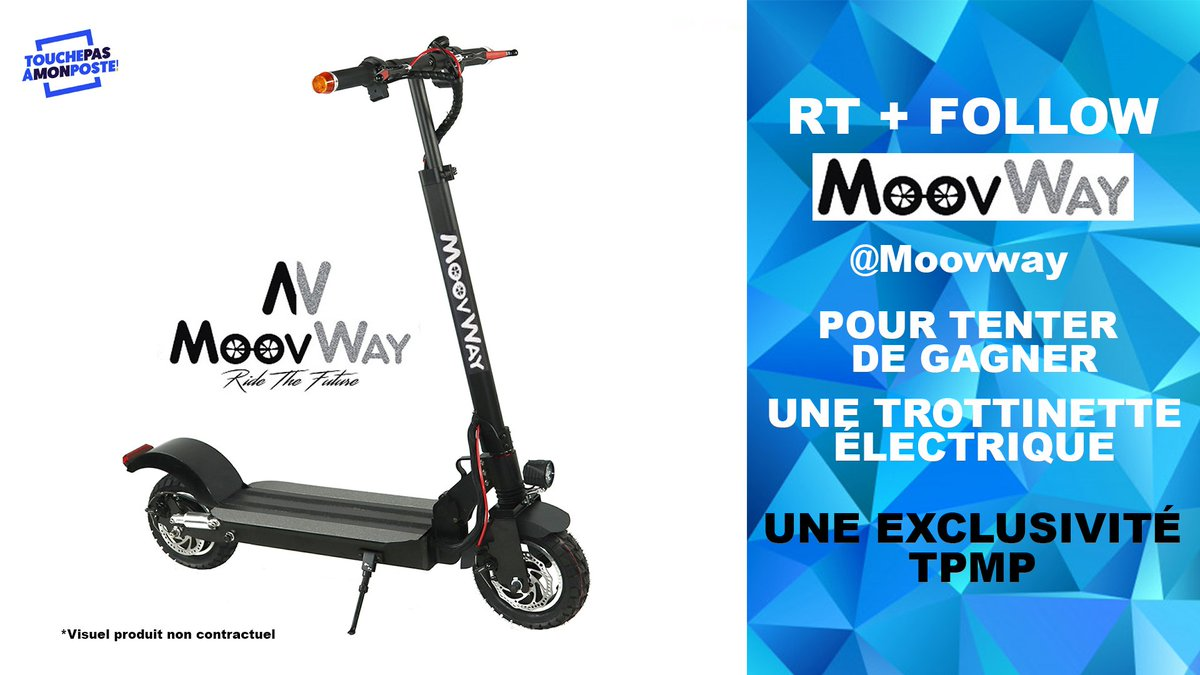 #JeuConcours  RT + Follow @Moovway pour tenter de gagner une magnifique trottinette électrique ! Une exclusivité #Moovway pour #TPMP ! Pour découvrir de nouvelles expériences de mobilité urbaine, rendez-vous ici #Moovway : https://www.moovway.com/ #TPMPBabaTennis