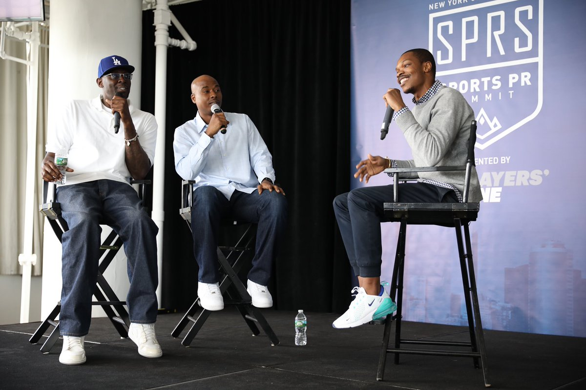 Now on stage: The Players Tribune athlete podcasters and hosts of the knuckleheads podcast @21blackking @qrich. Conducted by @seescottco #SportsPRSummit