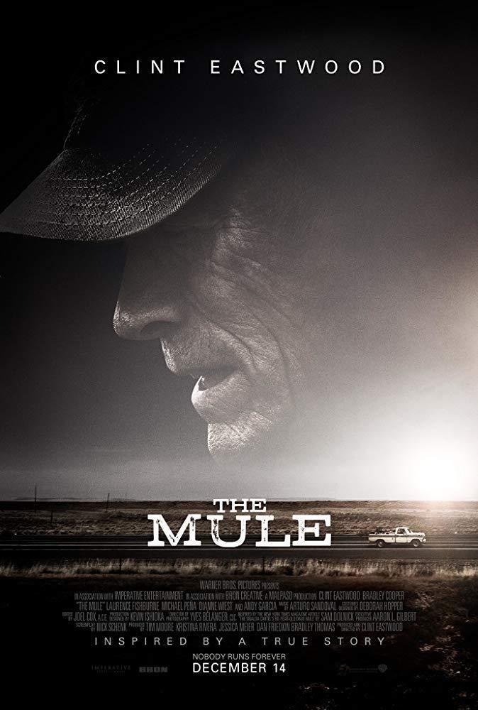 He visto The Mule.   Película de buena manufactura. Eastwood sigue dejando buenos momentos. No llega a sus mejores cotas aunque cubre satisfactoriamente las expectativas.