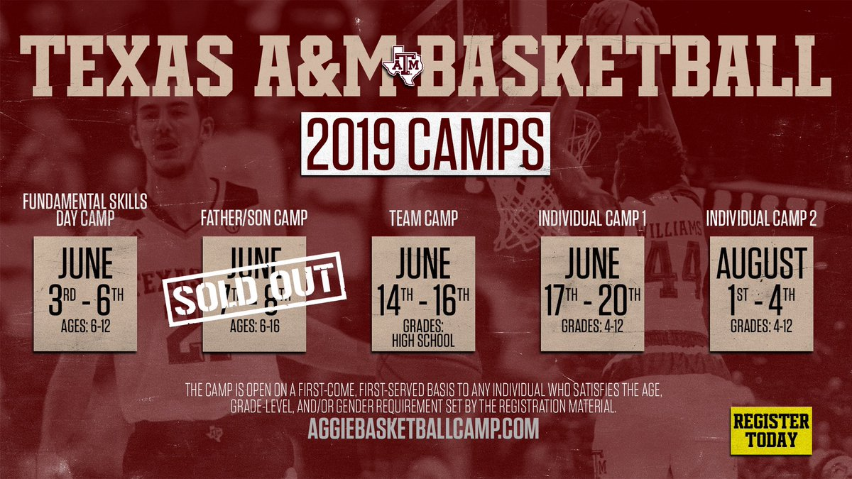 Spots are filling up fast for this summer's  camps!   Don't miss out on a chance to #getBETTER    Register at:  http:// AggieBasketballCamp.com  &nbsp;  <br>http://pic.twitter.com/6D2GrfIB0G