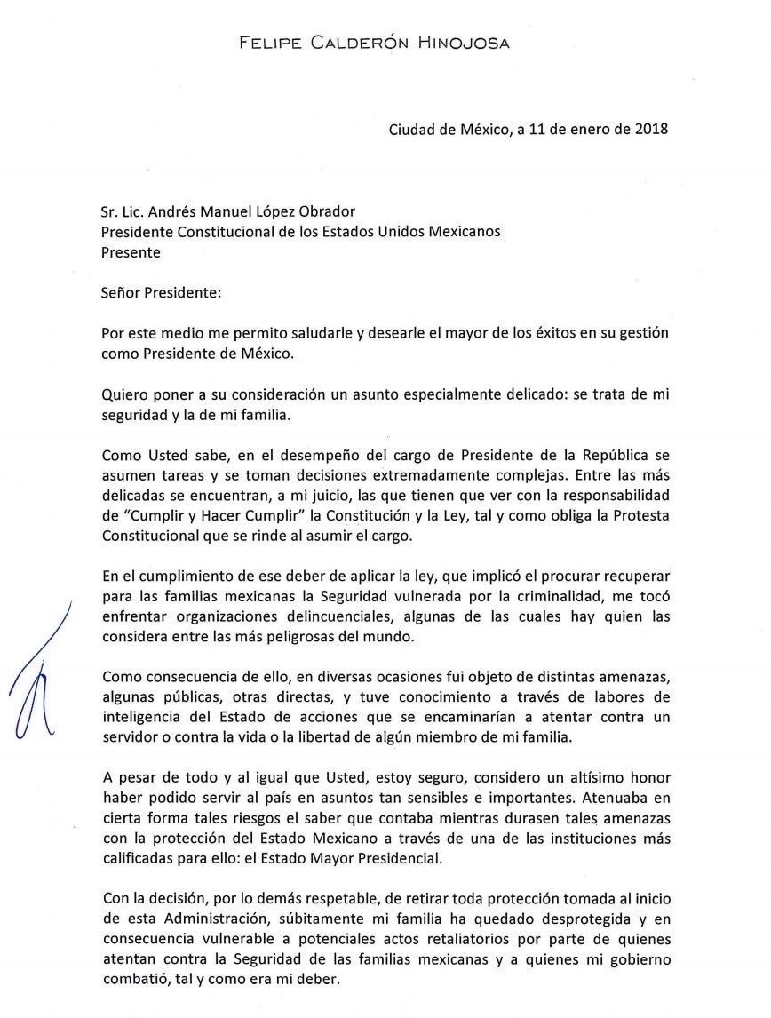 Aquí la carta que envío el expresidente @FelipeCalderon a @lopezobrador_ para solicitar seguridad especial. #AsíLasCosasConLoret @WRADIOMexico