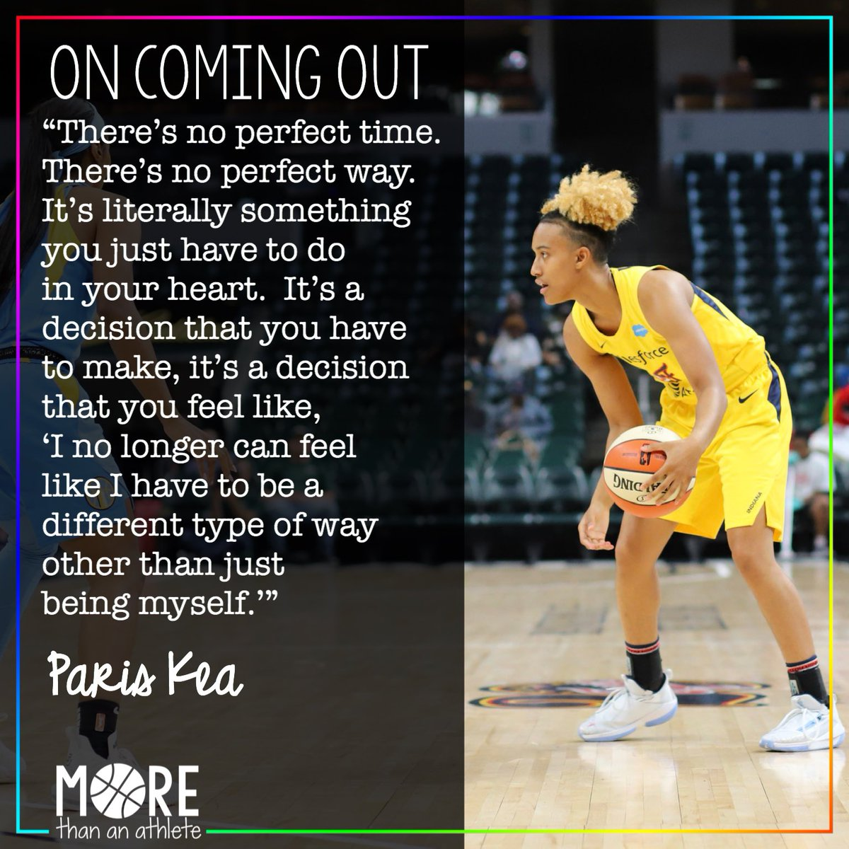 Rookie @TheReal_41 on coming out. 🏳️🌈   #fever20 #indianafever #wnba #pariskea #uncwbb https://t.co/mZWDsL83J8