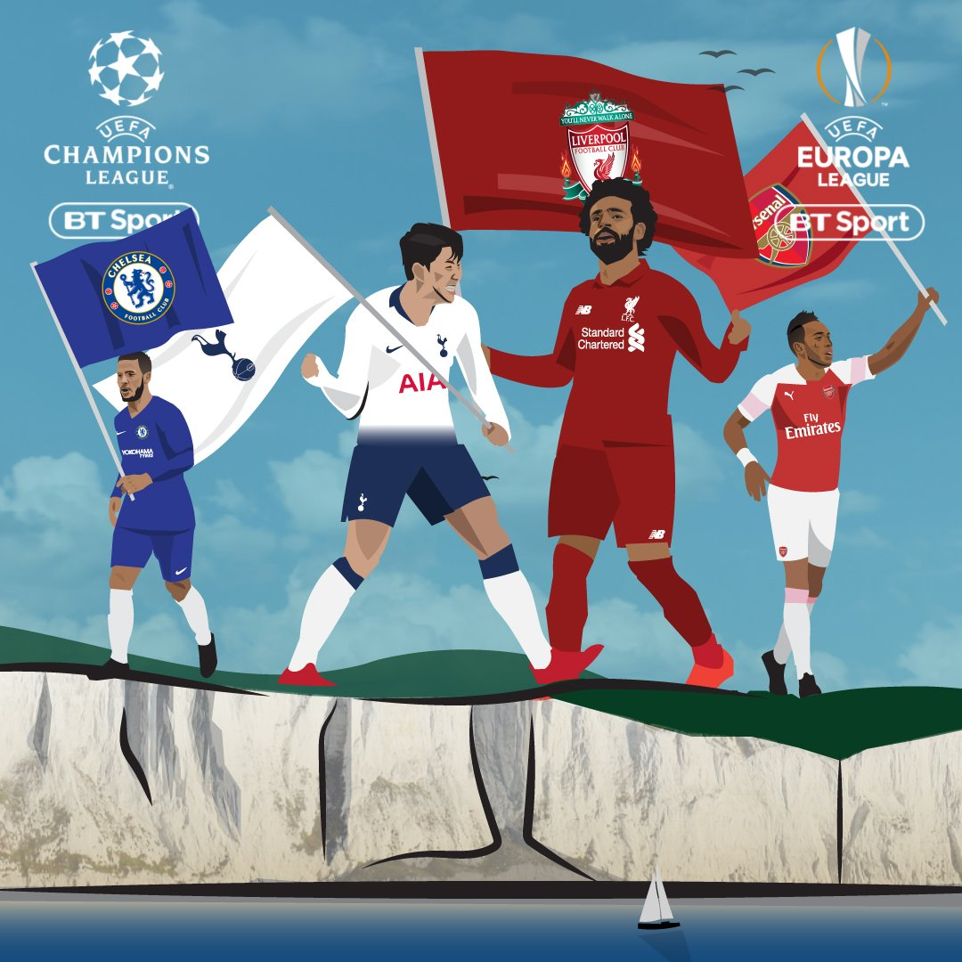 Watch the UEFA Champions League and Europa League finals in more ways than ever before with BT Sport.  🔵 Chelsea vs Arsenal 🔴 (May 29th) ⚪️ Tottenham vs Liverpool 🔴 (June 1st)  Two European finals. Four English teams. LOADS of ways to watch. Info - http://po.st/2019FinalsBTSport …