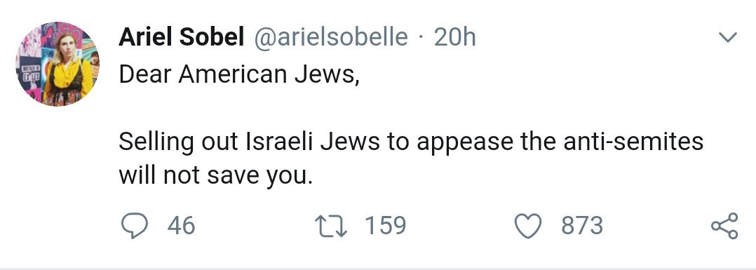 I can&#39;t decide what&#39;s more offensive here, the idea that the goal of American Jewish criricism of Israel is &quot;selling out Israeli Jews&quot; rather than ending the oppression of Palestinians or that our motivation is &quot;appeasing the antisemites&quot; rather than freedom and justice <br>http://pic.twitter.com/7OQ7BhpMtC