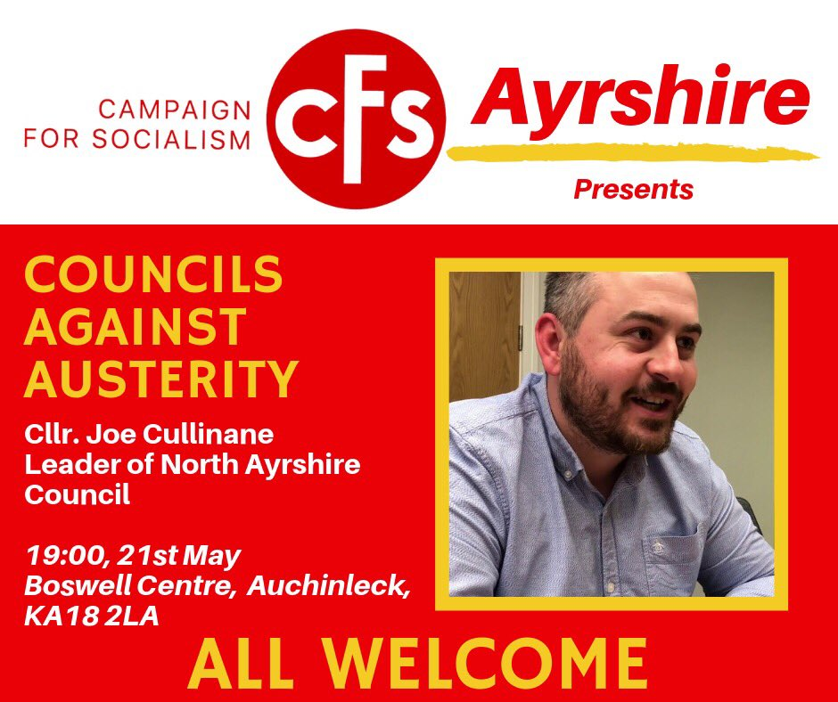 Ayrshire members - dont miss out on a fascinating insight into anti-austerity local government with North Ayrshire Council leader @jcullinane86 tonight