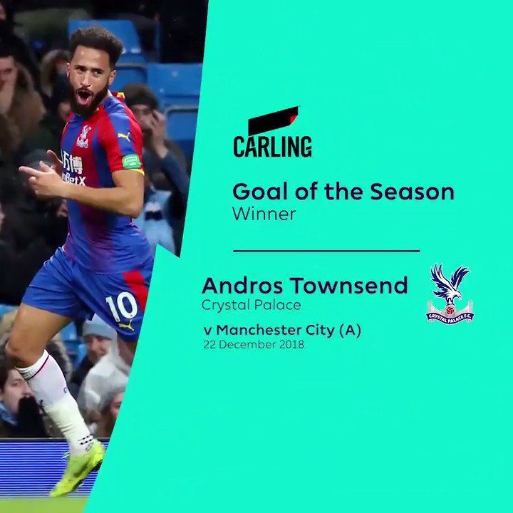 With this absolute screamer, the 2018/19 @carling #PL Goal of the Season goes to…  @andros_townsend 👏  #PLAwards