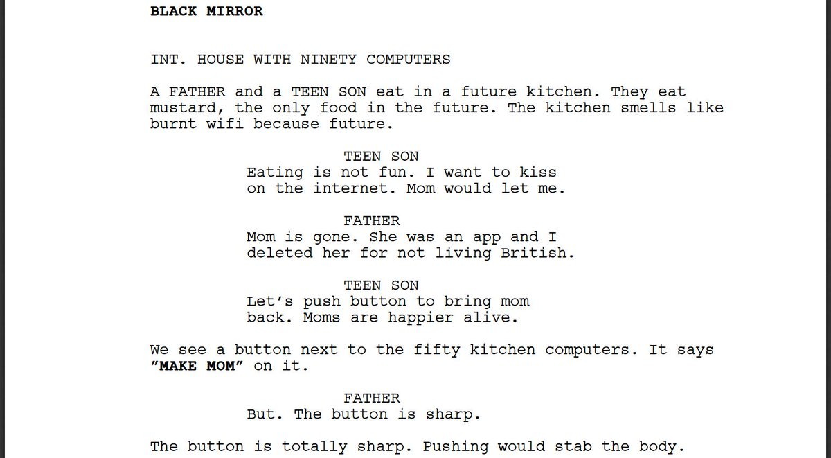 I forced a bot to watch over 1,000 hours of Black Mirror and then asked it to write an episode of Black Mirror of its own. Here is the first page.