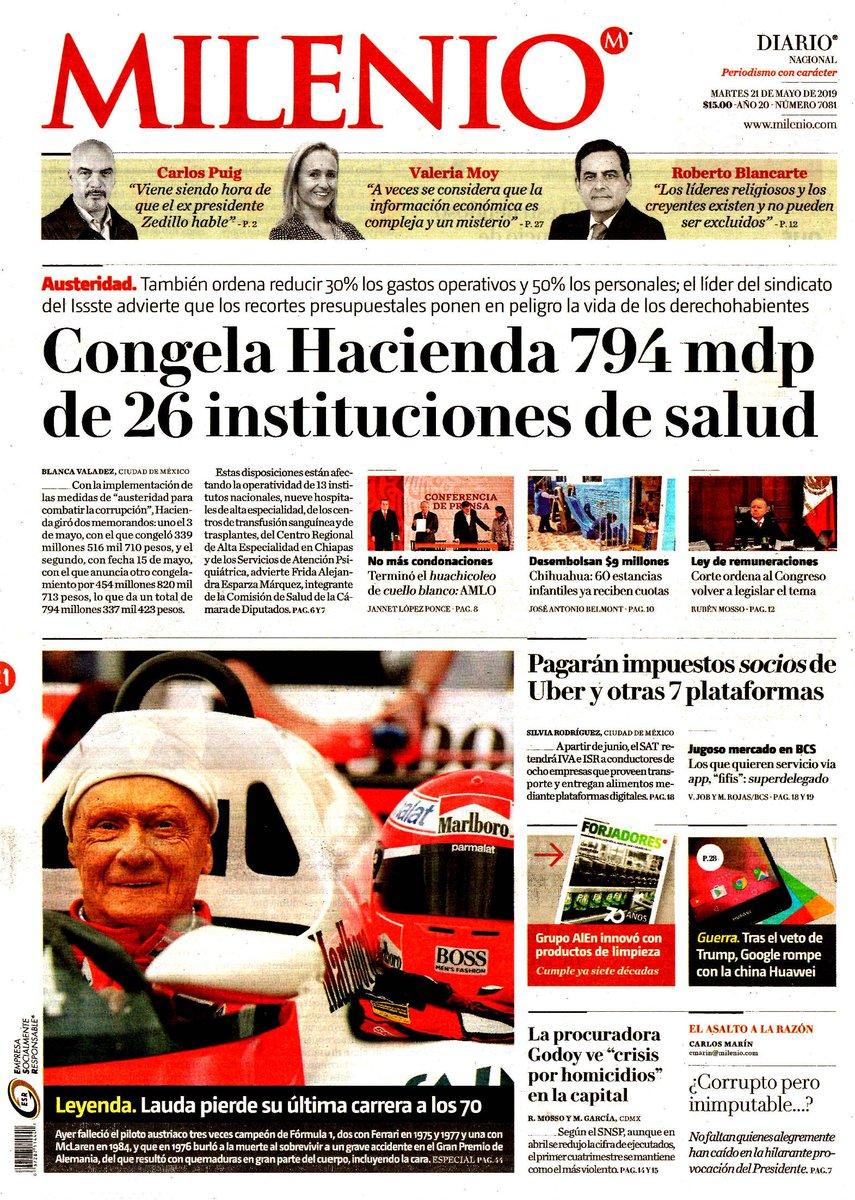 #Las8Columnas #Milenio: Congela Hacienda 794 mdp de 26 instituciones de salud