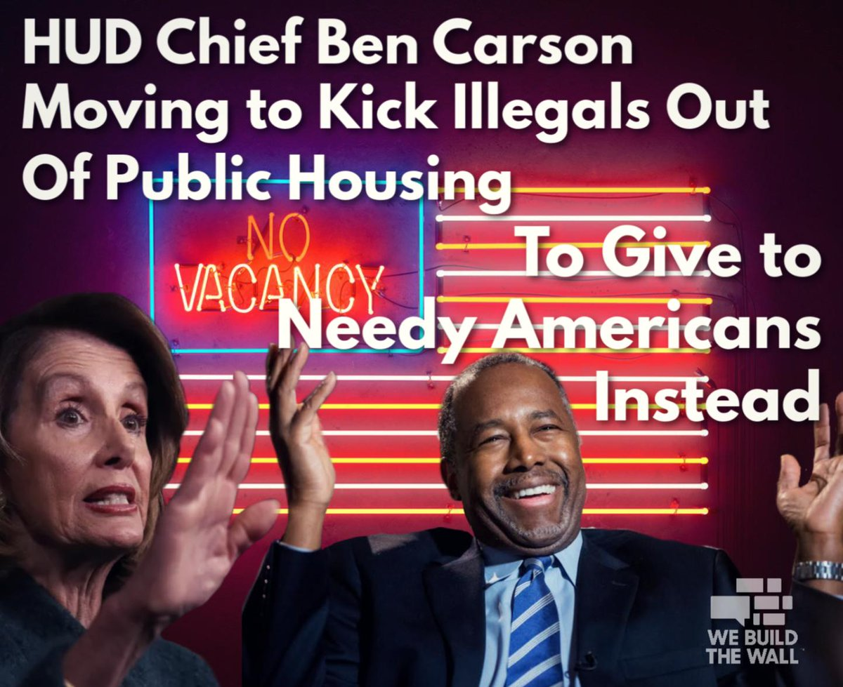 Millions of needy Americans are stuck on housing waiting lists for years, while an estimated 32K gov&#39;t-provided households are occupied by illegals with no right to taxpayer assistance but get it without the wait.  @SecretaryCarson is doing his job following the law! #MAGA<br>http://pic.twitter.com/TZXTL56x93
