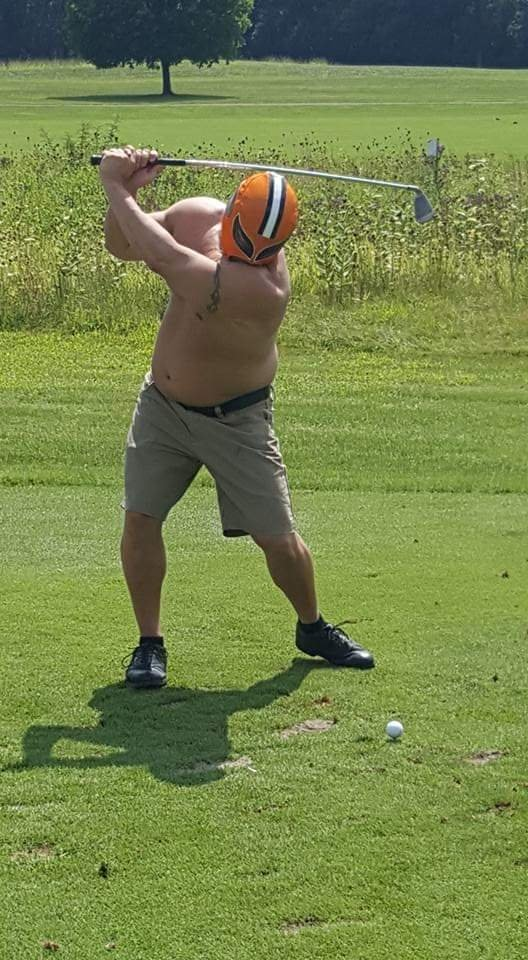 @GolicAndWingo #WingoCupContest My friend bought a Cleveland Browns wrestling mask on vacation in Mexico. He makes a bet that the Browns would beat the Steelers last season. The loser had to wear the mask for one hole on the golf course. This is the loser paying up! <br>http://pic.twitter.com/tYA58xNCar