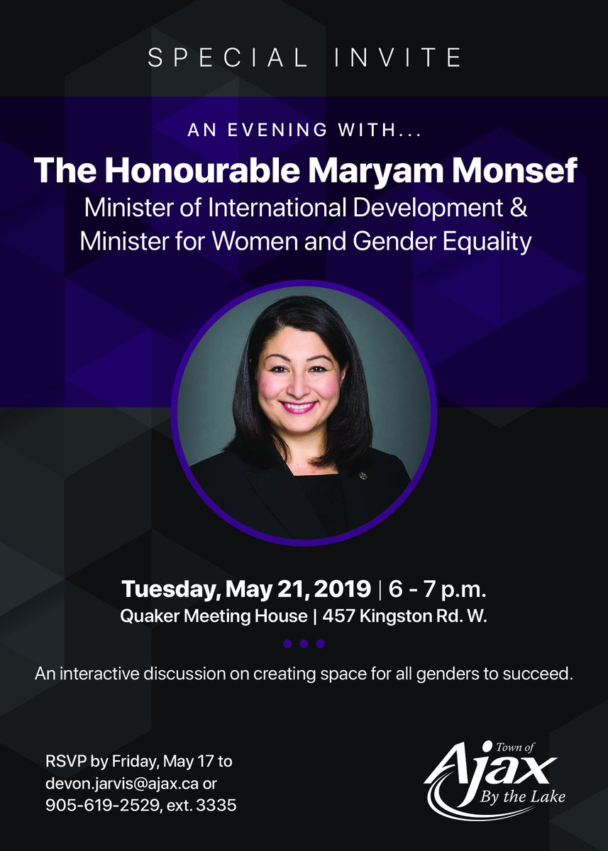 3ede7c92798 ... the Honourable @MaryamMonsef, Minister of International Development &  Minister for Women and Gender Equality, for an interactive discussion on  creating ...