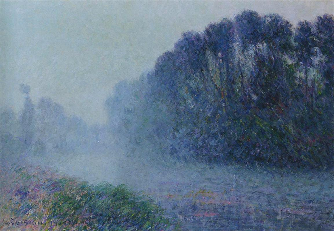 Gustave Loiseau (1865-1935)  By the Eure River Mist Effect, 1905 <br>http://pic.twitter.com/0NLXhaqWGh