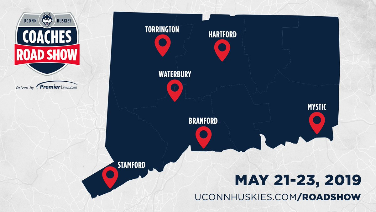 We're all packed up and ready to go!   The 2019 #HuskiesRoadShow driven by @premierlimoct starts tonight in Mystic.  Register 👉 http://uconnhuski.es/CRS19