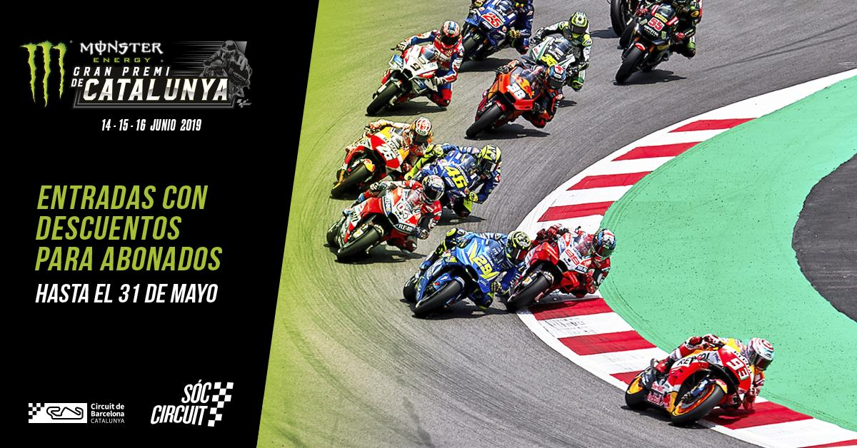 Circuit members can buy extra tickets for the #MotoGP #CatalanGP with a fantastic discount. Until May 31st! https://www.circuitcat.com/en/moto-gp/