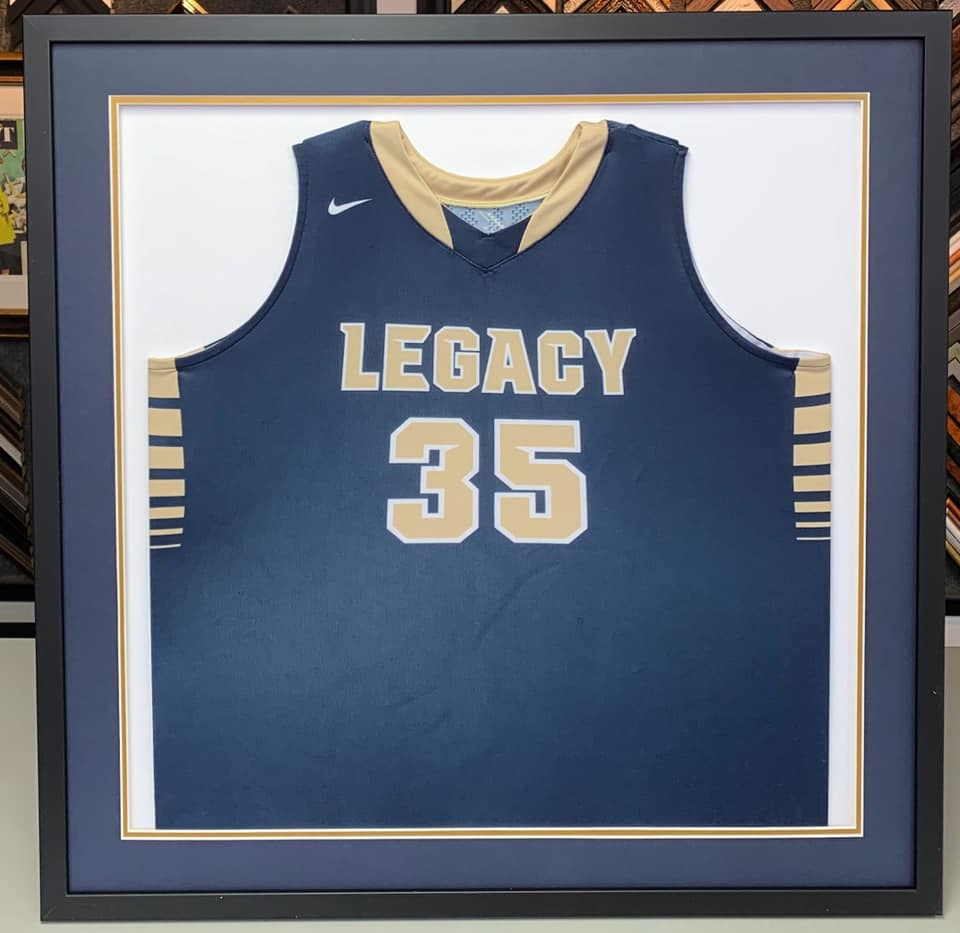 c7a1c8ade Legacy High School basketball jersey custom framed using acid-free  materials! Support your young athlete by letting us professionally frame  their jersey!