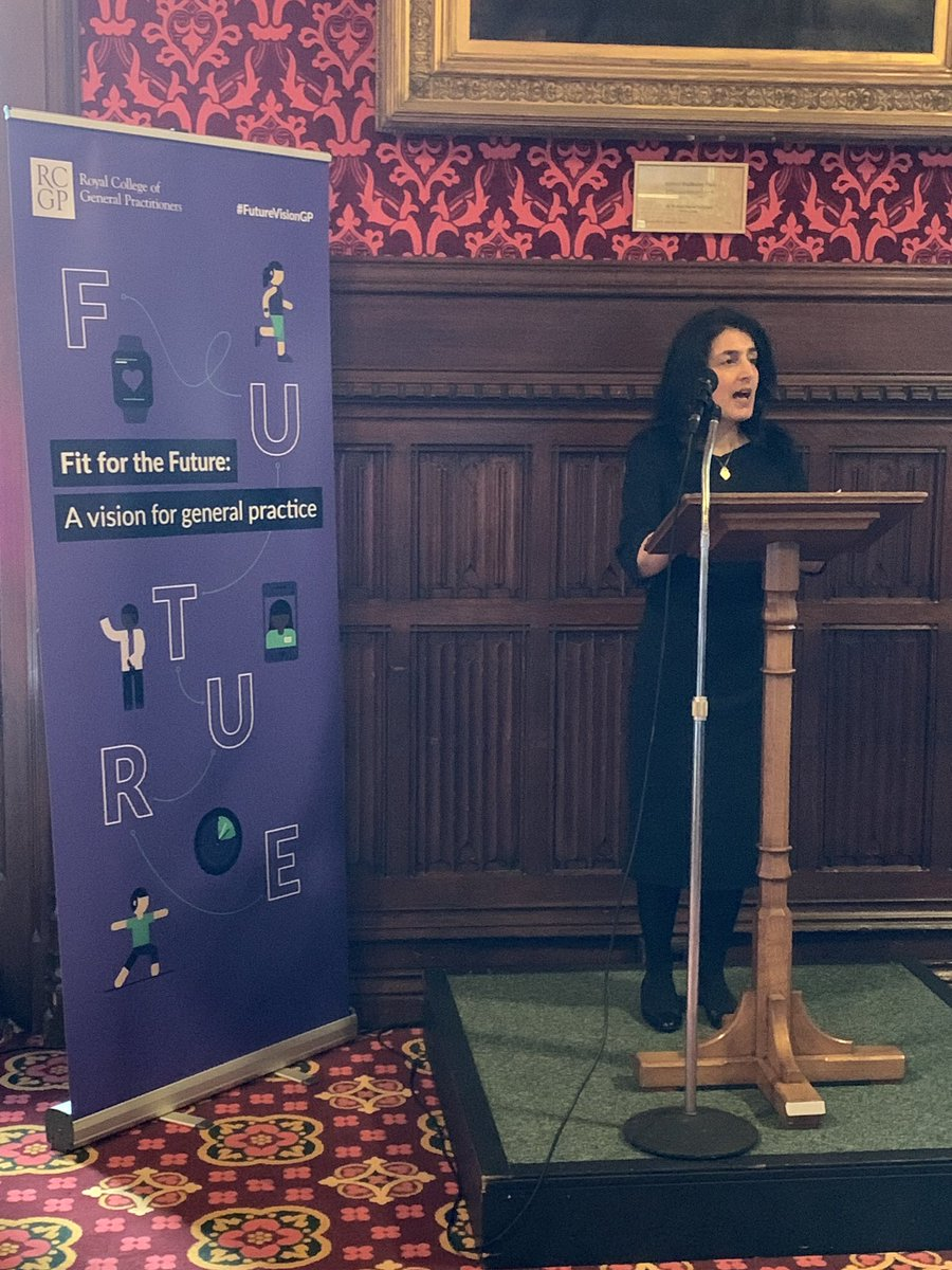 RCGP patient and cared partnership group Chair, Dr Robina Shah addresses the launch of #FutureVisionGP @UKParliament on importance of patient voice in shaping the future of general practice