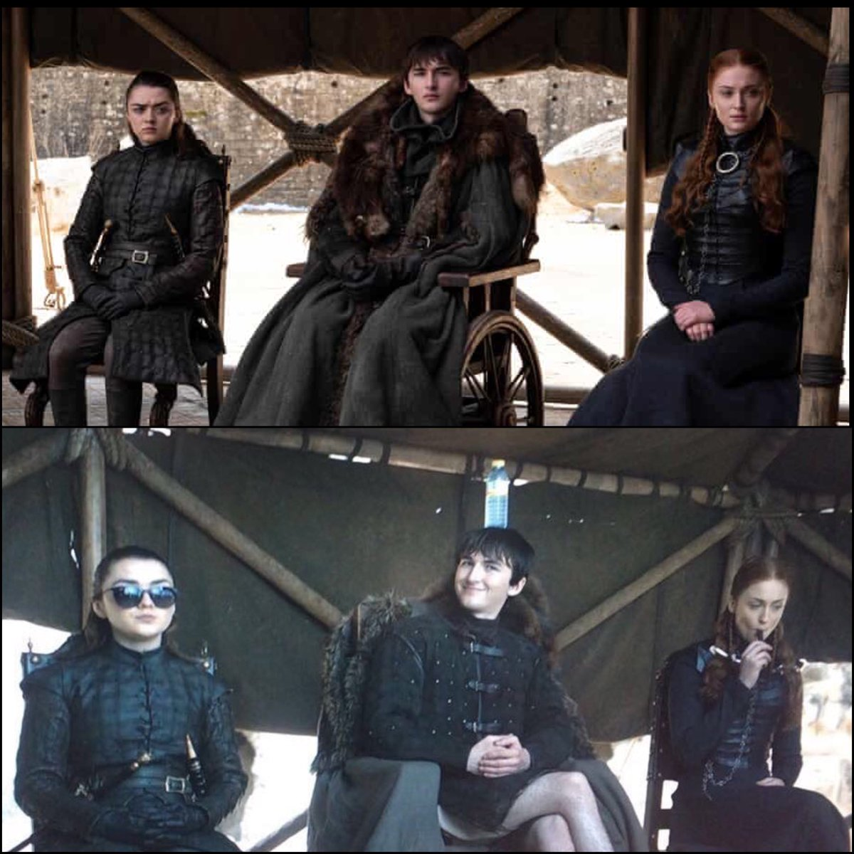 Arya, Bran and Sansa VS @Maisie_Williams , @Isaac_H_Wright  and @SophieT  #GameOfThrones #TheIronThrone #TheFinalEpisode <br>http://pic.twitter.com/P8HwZ1N3Vu