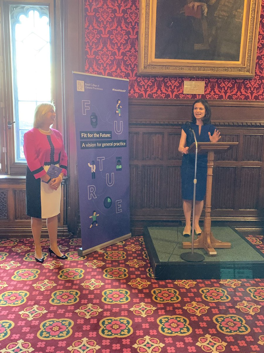 Health Minister @SeemaKennedy speaks at #FutureVisionGP launch- general practice is at the heart of the NHS, I know the importance of GPs through speaking to my constituents. GPs should be proud of the ratings general practice gets from patients & @CareQualityComm @UKParliament