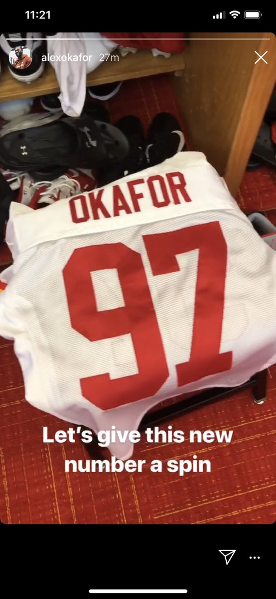 Looks like Alex Okafor (@aokafor57) has officially changed to number 97, this was in question because he had 99 when he came in, but gave it up to the rookie @khalenNOTkaylen!<br>http://pic.twitter.com/PSLVsBLrBF