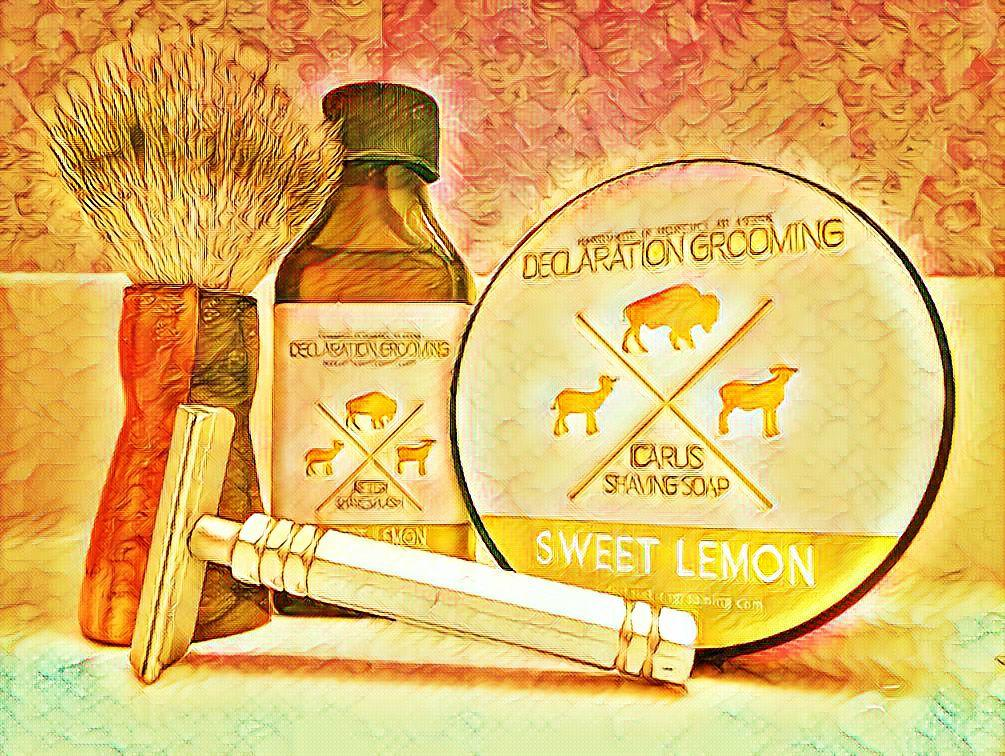 """#TartTuesday #PremiereSOTD #NewToMe with """"Sweet Lemon"""" Shaving Soap & Aftershave by @landlgrooming ~ Handmade brush by Red George Shaving Designs ~ SE Razor by Mongoose #WetShaving"""