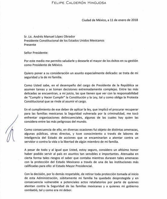 """Aquí la carta de @FelipeCalderon al Presidente @lopezobrador_ """"Nunca robé ni me enriquecí en el desempeño del cargo, y mis ingresos actuales, que son variables e inciertos, no me permiten pagar los servicios de seguridad"""" señala el expresidente"""