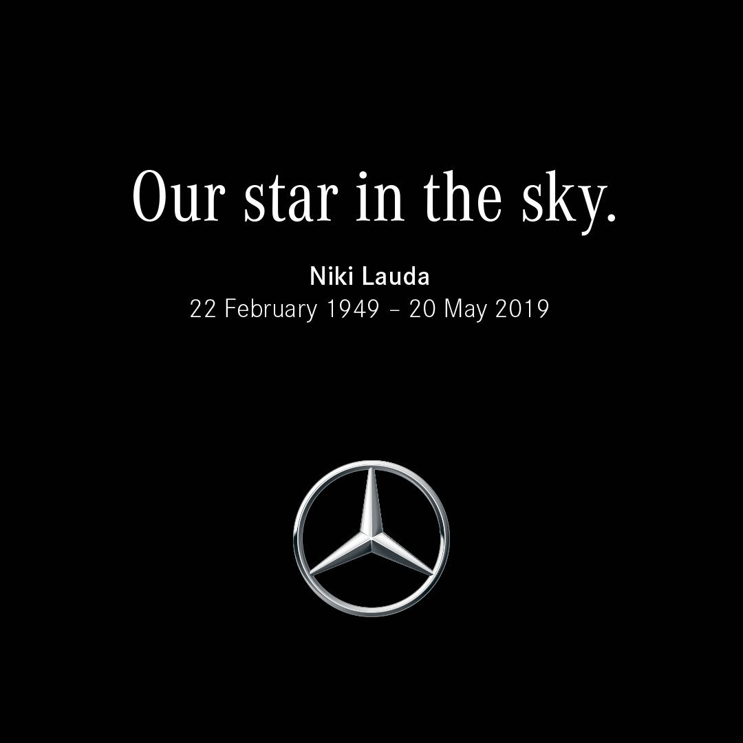 With deep sorrow and sincere respect, @MercedesBenz bids farewell to one of the greats: Niki Lauda.  He will always be remembered as a three-time @F1 champion, passionate entrepreneur, the Chairman of Mercedes-AMG Petronas Motorsport and above all: as a wonderful human being.