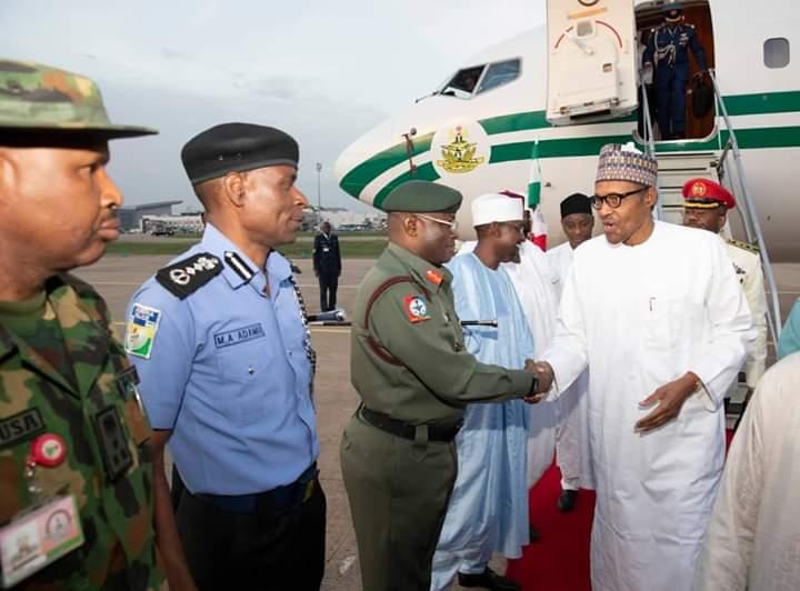 D7H2ZaRW0AAALcy - Breaking: President Muhammadu Buhari Returns To Nigeria With Wife After Lesser Hajj In Saudi(Photos)