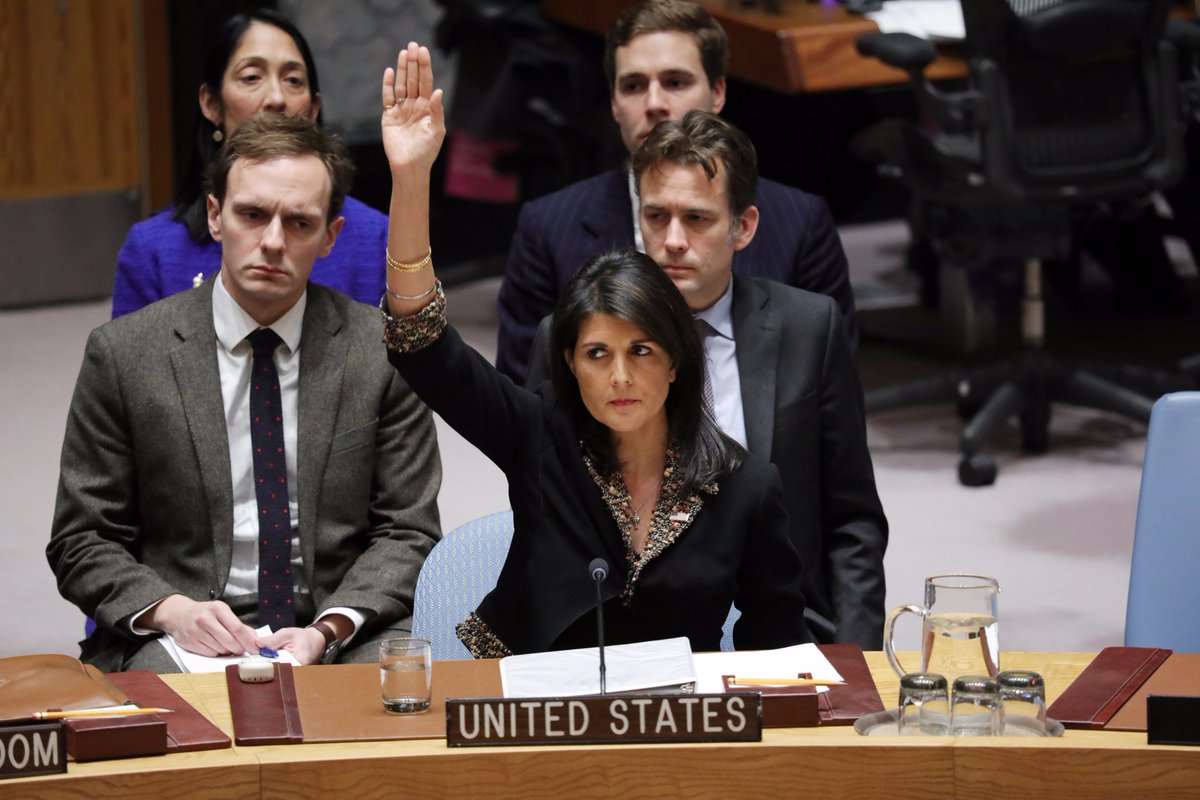 This picture personifies #leadership. Amb. @NikkiHaley  stood up to the #UN Security Council after it condemned U.S. efforts to move its embassy to Jerusalem.  Photo credit: UN<br>http://pic.twitter.com/bp26WdBRm3
