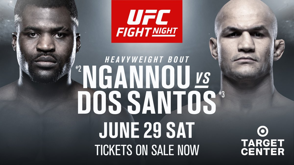 NEW main event!  🇨🇲 @Francis_Ngannou vs 🇧🇷 @Junior_Cigano moves from #UFC239 to #UFCMinneapolis!   ➡️ http://bit.ly/2VHBxEG ⬅️