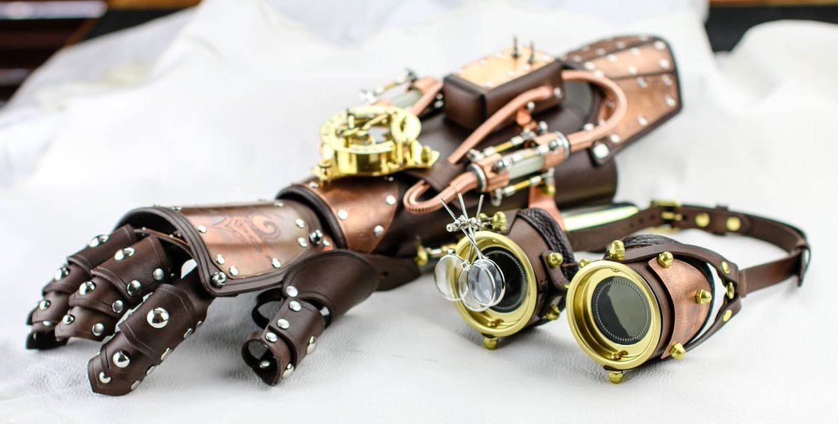 #Steampunk Gauntlet and Goggles Phoenix Set by CraftedSteampunk  https://t.co/yWlheyHl6A