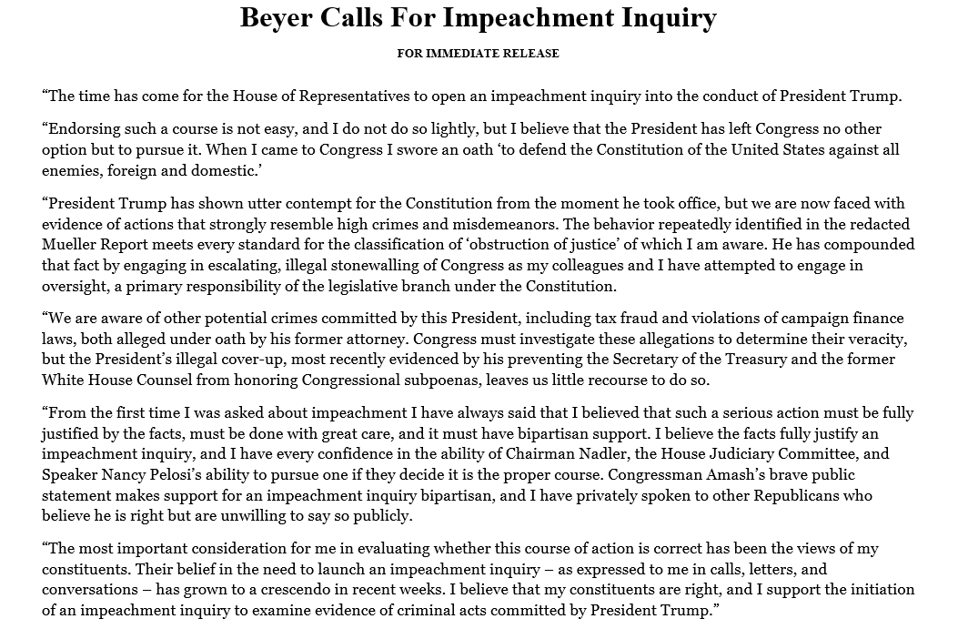 The time has come for the House of Representatives to open an impeachment inquiry into the conduct of President Trump.
