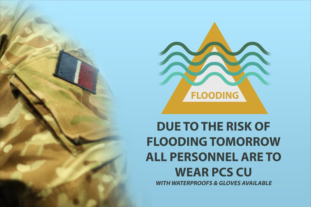⚠️ Amber Warning for Flooding in Moray and Speyside ⚠️  @ScottishEPA have issued an amber flood alert for Moray and Speyside. As such, all personnel are to wear Personal Clothing System Camouflage Uniform (PCS CU) tomorrow.  Read more: https://floodline.sepa.org.uk/floodupdates/info/group-id/4978/ …