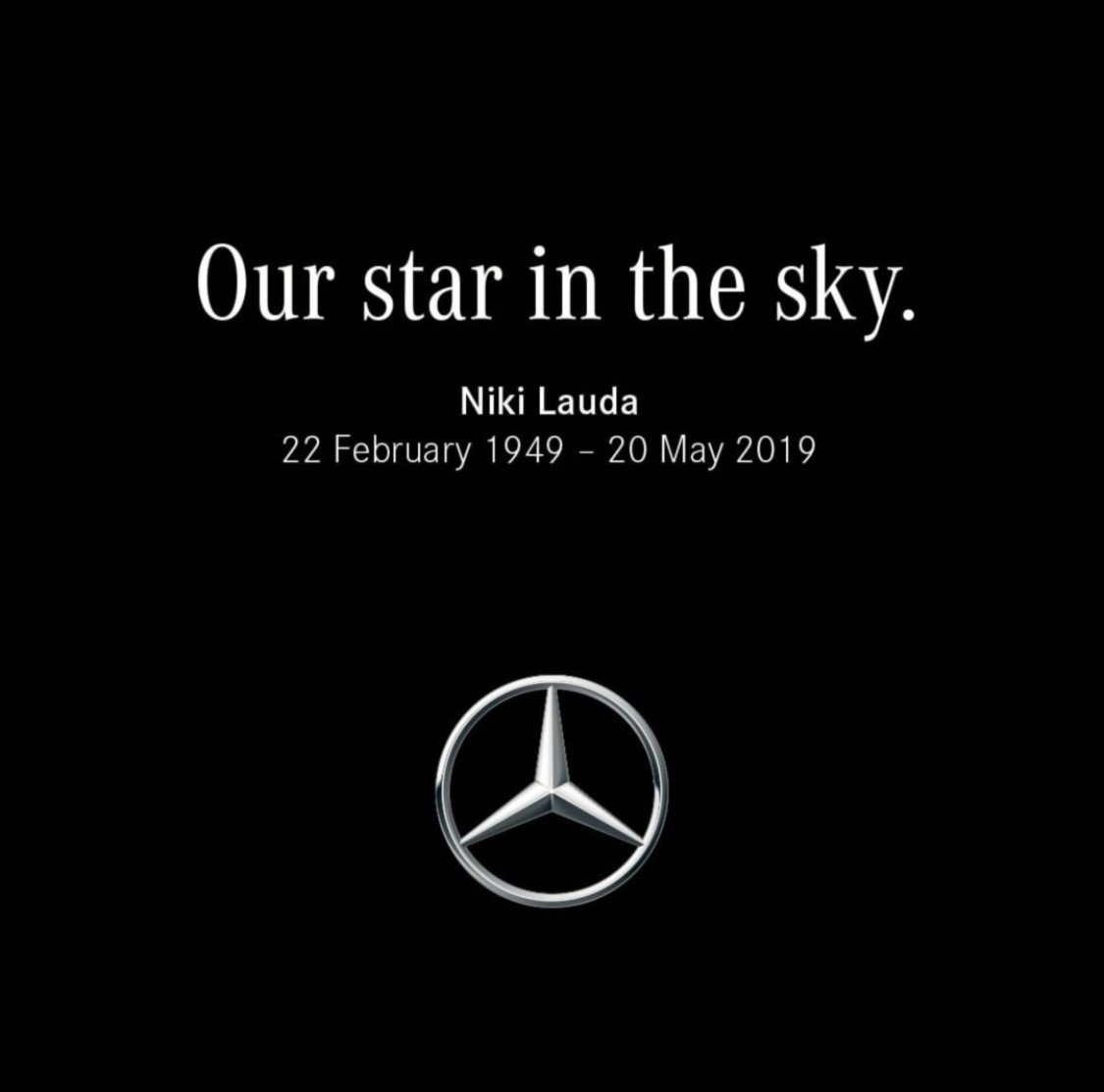 Rest in peace Niki Lauda. A legend on and off the track and a three-time Formula 1 world champion. #nikilauda #mercedesbenz https://t.co/S9bdG4WWbb