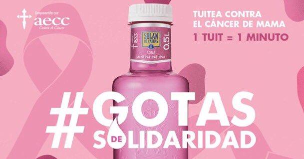 Por cada tuit con el hashtag  #GotasDeSolidaridad, tendrán un minuto de atención psicológica  los pacientes con cáncer de mama.  Todo suma... anímate 🙏🏻.  Colabora @aecc_es . Gracias.