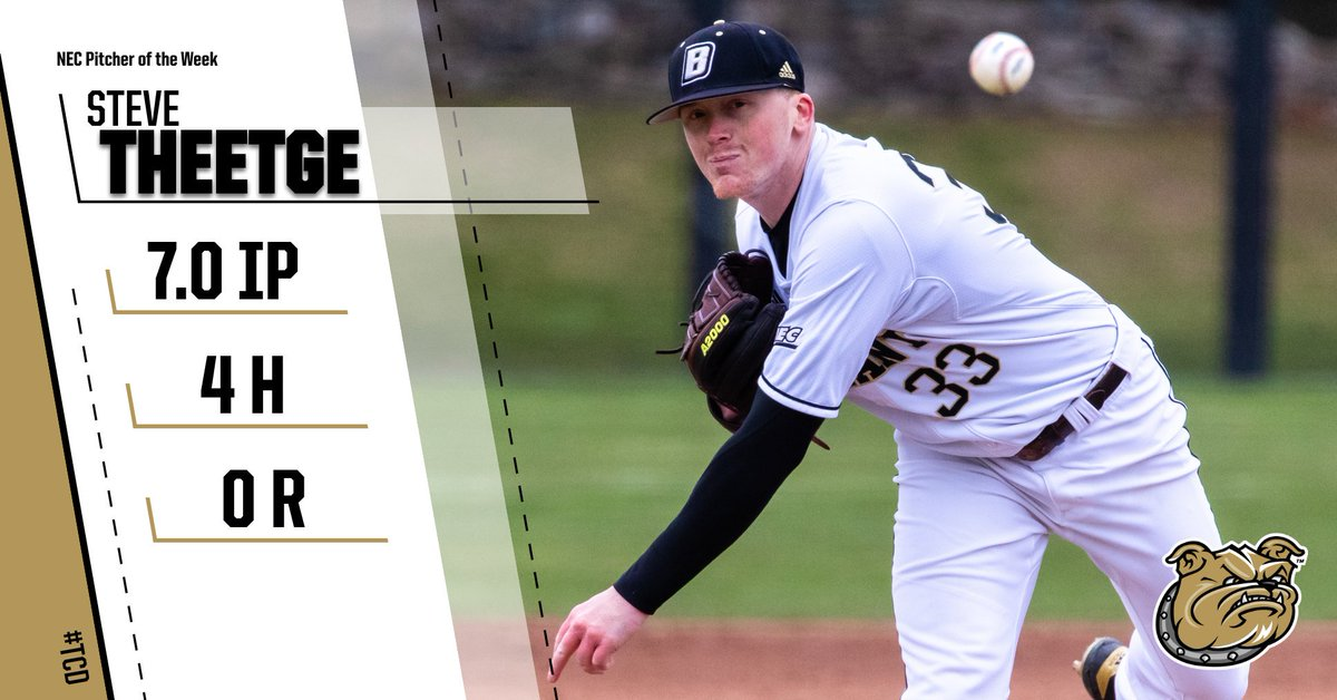 .@Theetge_17 picked up NEC Pitcher of the Week honors after tossing seven scoreless last weekend vs. Sacred Heart.   http://bit.ly/2JVyLoM  #TCD