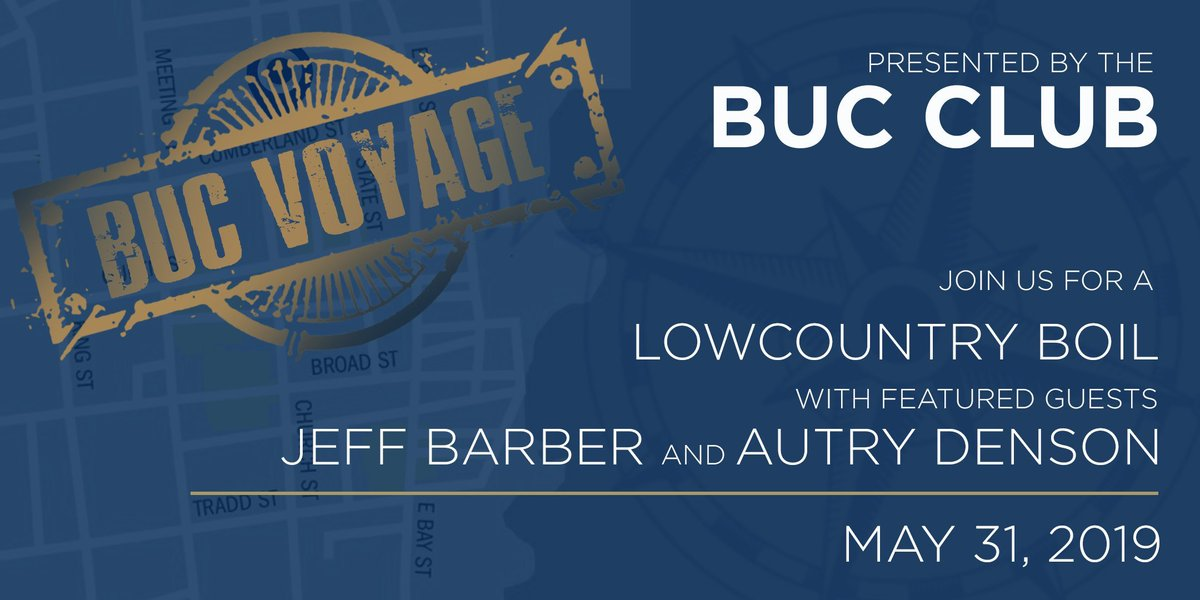 We're only 10 days away from our Buc Voyage!  Enjoy a Lowcountry Boil, meet and greet other @CSUBUCCLUB Members, and hear from @jeff_barber_ and @autrydenson  Get all the details here: https://bit.ly/2HPnTcb