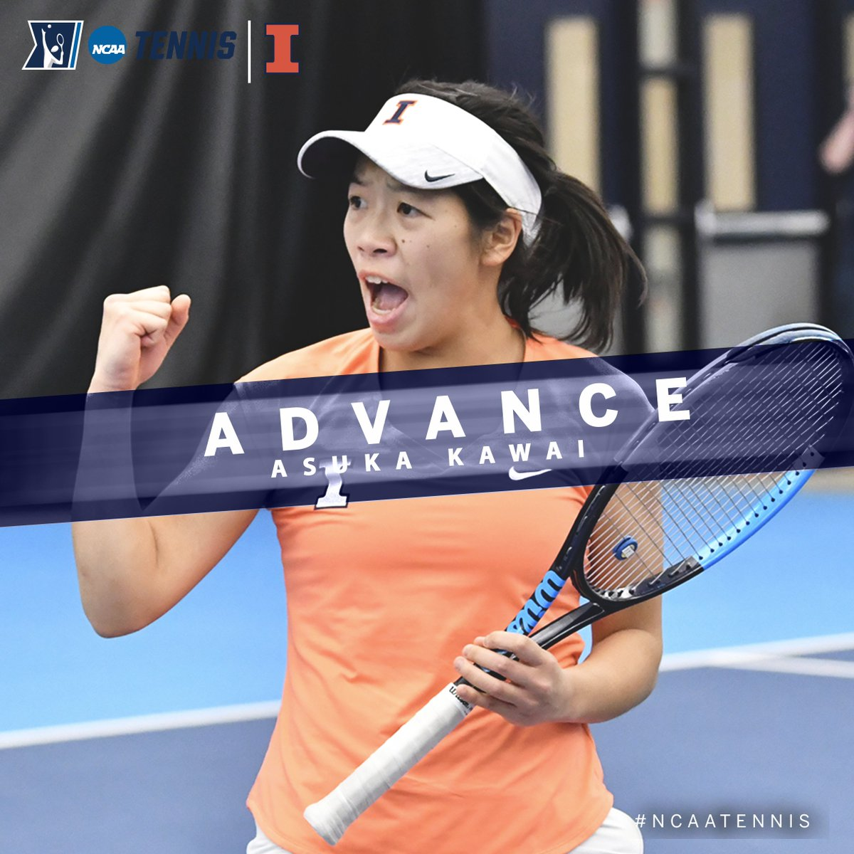 Asuka Kawai of @IlliniWTennis wins an all #B1GWTennis match-up in the @NCAATennis Singles Second Round, as she outlasts, Brienne Minor of Michigan, 6-3, 7-6 to advance to the Round of 16 in Orlando.