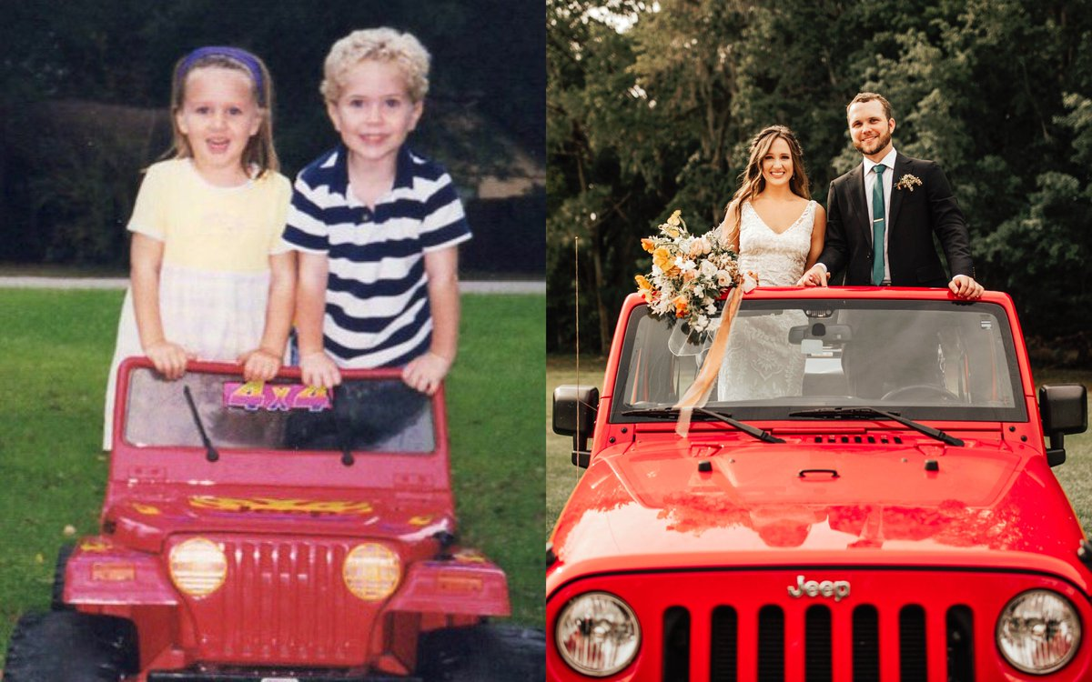 This is Natalie and Austin as newlyweds on their wedding day, and as best friends in preschool. Can you guess which Jeep was booked on Turo?  Congrats to the lovely couple! Read the full story behind this childhood photo recreation on the Turo blog: https://bit.ly/2WVRMev
