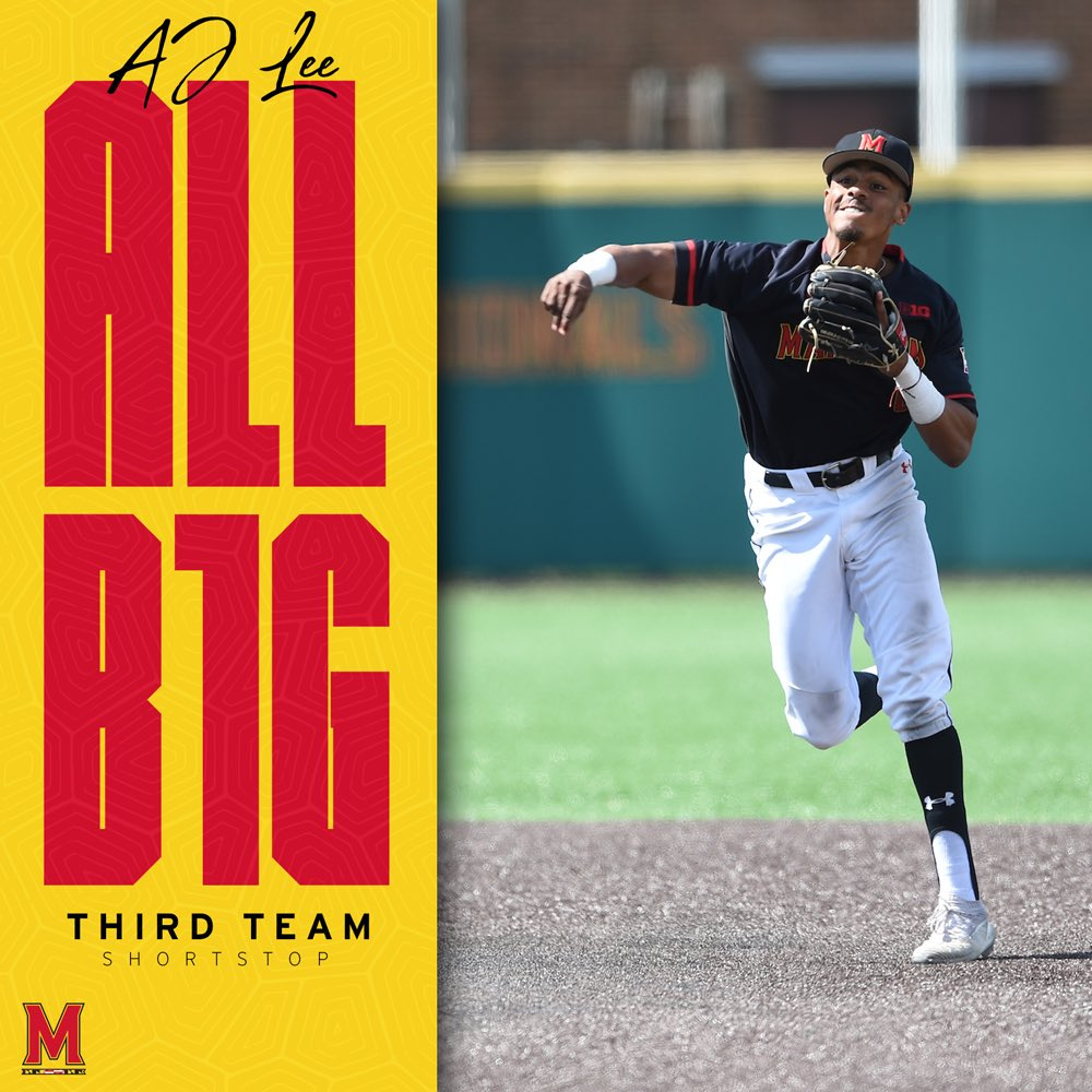Kid was unreal down the stretch  Since April 1  .345/.465/.514   @AJ_Lee02 is now a two-time Third Team All-Big Ten selection!  #DirtyTerps<br>http://pic.twitter.com/juhfg8CboG