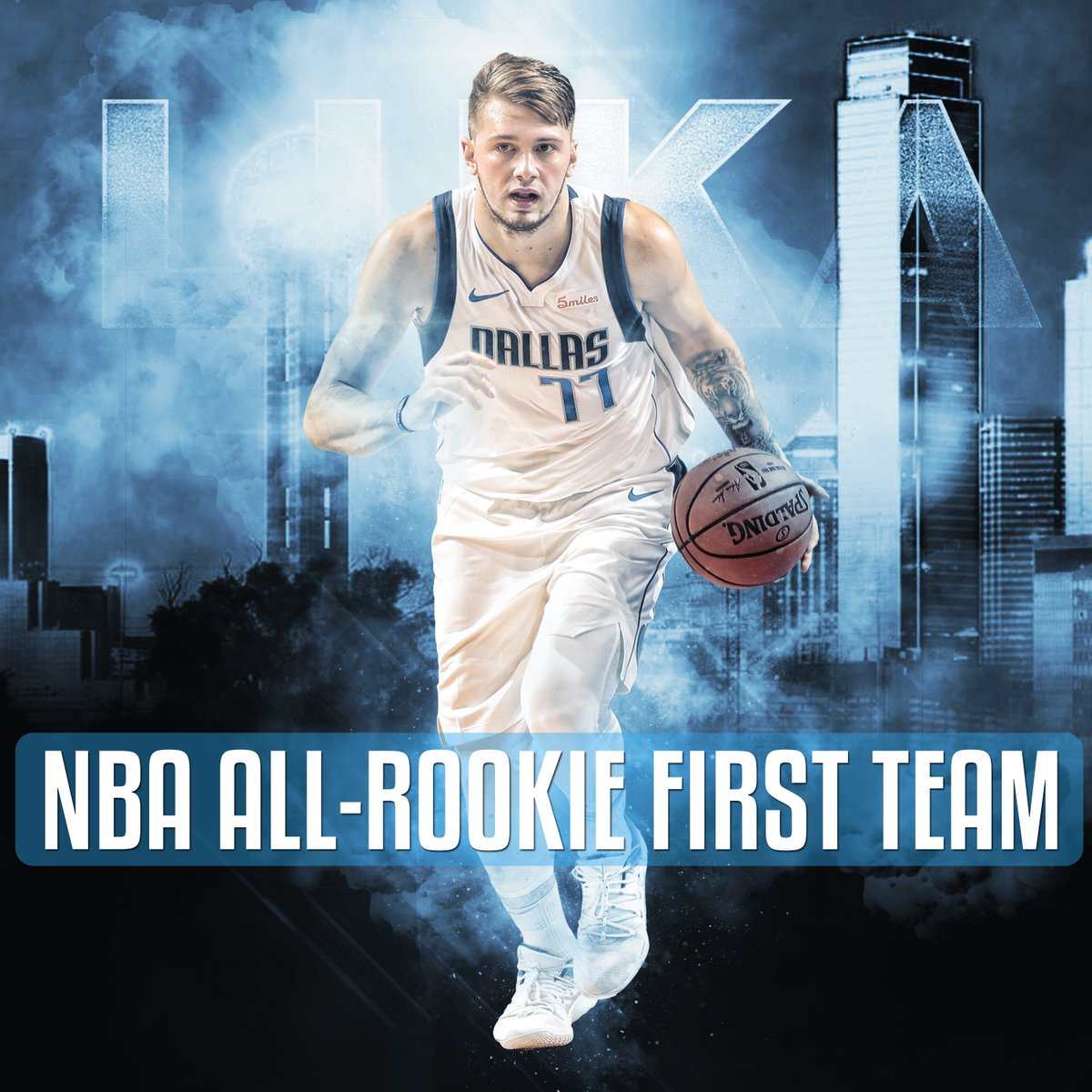 👏UNANIMOUS!👏  Congrats to @luka7doncic for being unanimously selected to the 2018-19 NBA All-Rookie First Team after receiving first-place votes on all 100 ballots from a global panel of sportswriters and broadcasters!  👆: http://on.mavs.com/trk/eosi