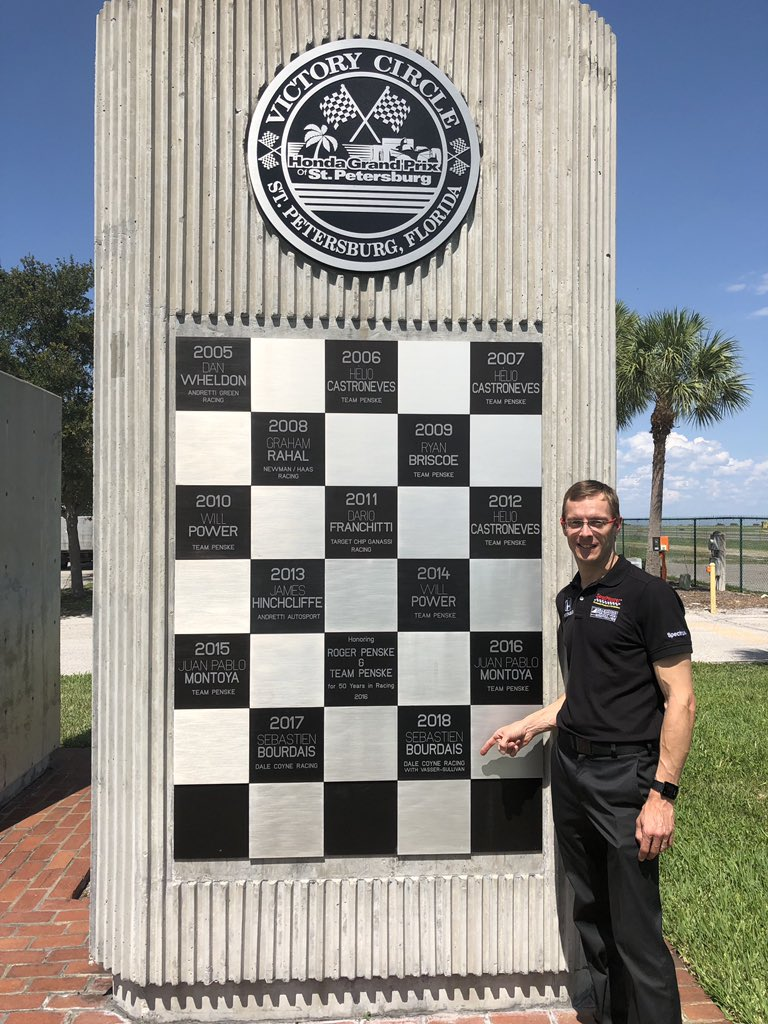 Alright, had to stop by the @GPSTPETE victory circle plaque while I was down here. I think I recognize that name! 😜 #Indy500MediaDay