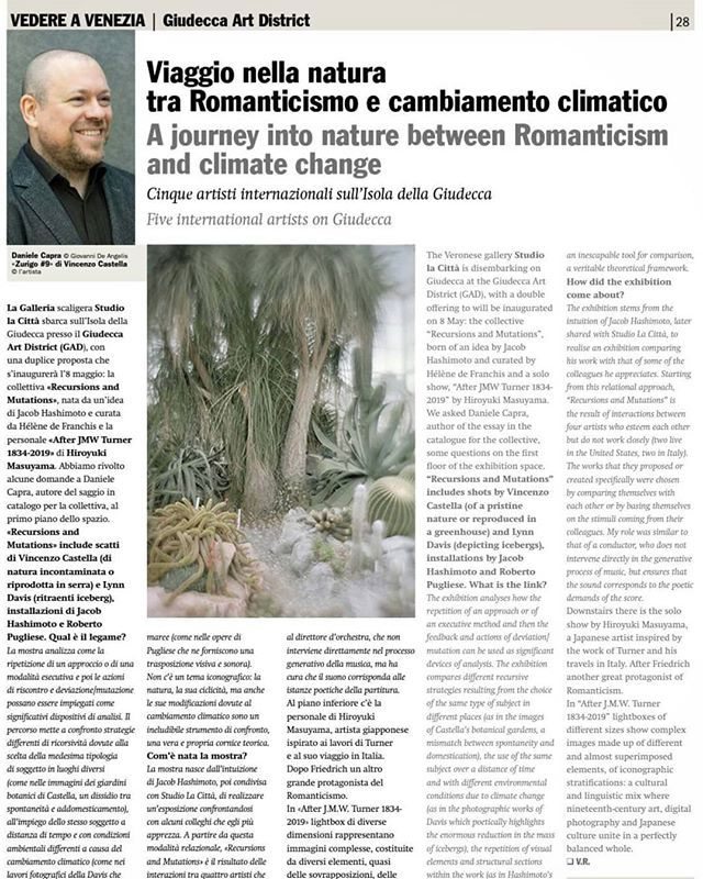Thanks to #VeronicaRodenigo and #GiornaleDellArte for the #interview about the exhibition #RecursionsAndMutations at #GiudeccaArtDistrict in #Venice. The show is organised by #StudioLaCittà and features stunning works by #VincenzoCastella #LynnDavis #Jac… https://t.co/xhIpawLh8C