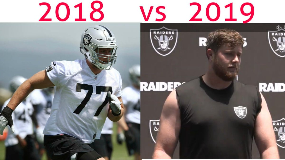 Kolton Miller just confirmed he weighs 328 Pounds today. Last year at the combine, he weighed 310 pounds.   Pretty big difference between the pictures if you ask me.  #Raiders #RaiderNation<br>http://pic.twitter.com/7Co4LISZ1S