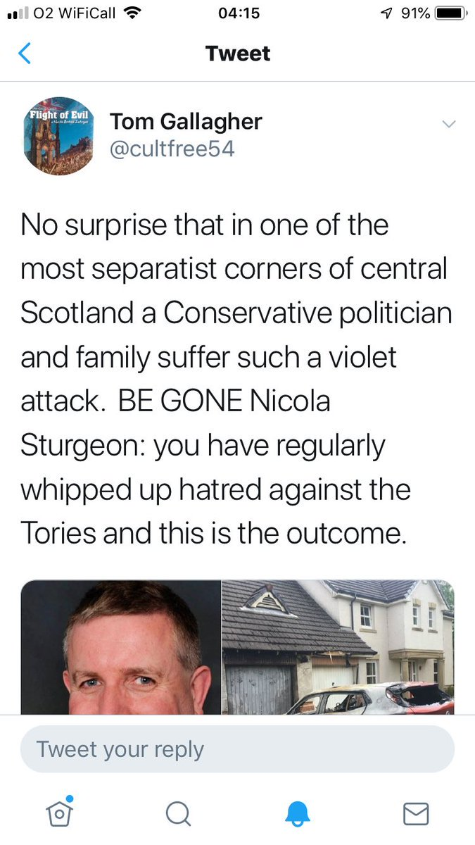 This is extremely irresponsible & very dangerous smearing without a shred of evidence. Yet @RuthDavidsonMSP & my MSP @AJABurnett re-tweeted it. Of course the coward who tweeted it has blocked me. Hopefully Twitter will take appropriate action!
